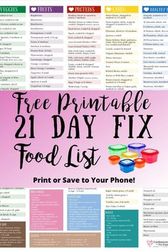 Looking for a 21 Day Fix Updated Food List to print and have handy access all on. Looking for a 21 Day Fix Updated Food List to print and have handy access all on one sheet? Have a copy on the go and keep one in your meal planner! Vegan 21 Day Fix, 21 Day Fix Vegetarian, 21 Day Fix Diet, 21 Day Fix Meal Plan, 21 Day Fix Foods, 21 Day Fix Desserts, 21 Day Fix Snacks, 21 Day Detox, 21 Day Sugar Detox