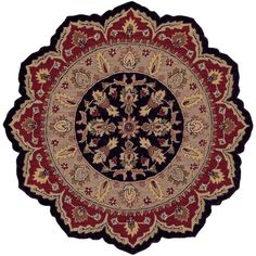 Traditional Shape Black and Red 5 ft. Star Plush Indoor Area Rug, Clear