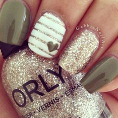 Mocha Heart and Gold Pinstripe Nails With Gold Glitter | Cute Nail Art Designs