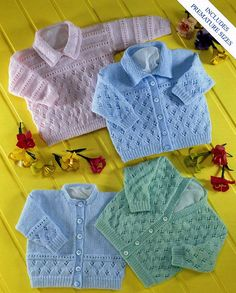 Knitting Patterns Modern baby cardigans knitting pattern baby sweater with collar lacy cardigans 4 ply premature ba…Knit V neck and Round neck Cardigan Vintage Pattern Newborn to 2 years matinee jacket cabled sweater. Baby Cardigan Knitting Pattern Free, Crochet Baby Cardigan, Baby Knitting Patterns Free Newborn, Toddler Cardigan, Free Knitting, Pull Bebe, Cardigan Design, Baby Sweaters, Cardigan Sweaters