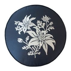 "Embroidered Cushion- FLANNEL FLOWER IN INDIGO from ""4 leaf clovers"" - Australian textiles, wall art and homewares. Loving this beautiful monochrome design with intricate Australian flower embroidery on round cushion."