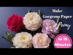 Crepe paper flower, How to make paper Peony flower from crepe paper - Inter 1 Crepe Paper Flowers Tutorial, Crepe Paper Roses, Paper Peonies, Paper Flowers Craft, How To Make Paper Flowers, Large Paper Flowers, Nylon Flowers, Paper Flower Art, Paper Flower Backdrop