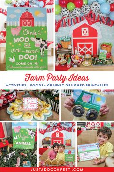 Adorable Farm Party ideas and inspiration that are fun and simple—foods, easy activities, and graphic designed printables (some free ones, too, in the Printable Library!). You can re-create this celebration at home in no time. #farmparty #JustAddConfetti #printables #farm
