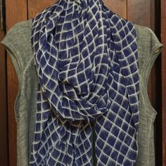 Blue and white checkered scarf Thin and shear butt can be wrapped several times and several ways Accessories Scarves & Wraps