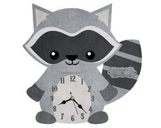 Hey, I found this really awesome Etsy listing at https://www.etsy.com/listing/228508770/cute-racoon-clock-nursery-clock-handmade
