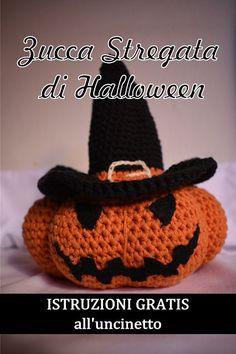 Zucca stregata di Halloween Crochet Pumpkin, Halloween Crochet, Halloween Treats, Halloween Stuff, Crochet Projects, Free Pattern, Cross Stitch, Crochet Hats, Beanie