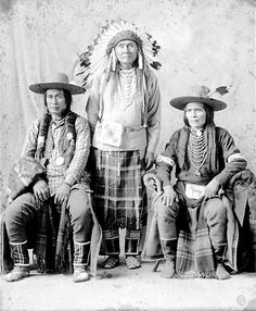 Three American Indians, Chief Joseph and two Nez Perce men.