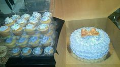Baby shower purple ombre cake and cupcakes