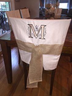 kitchen chair back covers. Monogrammed Chairback Slipcover / Chair Cap Kitchen Back Covers O