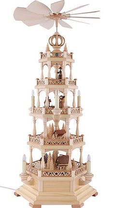 4-tier pyramid Forest Motif - electrical (71cm/28in) by Müller Kleinkunst