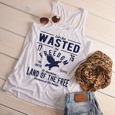 f8946e35200c5 Women s Wasted On Freedom Tank 4th July Independence Day Vintage Shirts  Graphic Tee Eagle Top