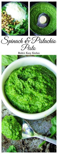 Spinach and Pistachio Pesto - Tender baby spinach, with toasted pistachios, makes one of the best pestos you will ever taste! From www.bobbiskozykitchen.com #SundaySupper