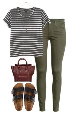 #summer #outfits / Stripes Tee + Birkenstock Sandals
