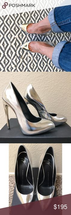 Giuseppe Zanotti Silver Metallic Platform Pump 6.5 Gorgeous Giuseppe Zanotti liquid metallic pumps with a slight platform and 5 inch silver mirrored heels. Comes with dust bags, shoe bag, box and authentication card purchased from Neimans. Lightly worn in excellent condition (the shoe box is a little ripped though). Unfortunately these are too tight for me. They're definitely flashy and adds a little sexy badgirl to your outfit! They're perfect for any length skirt/dress and looks killer…