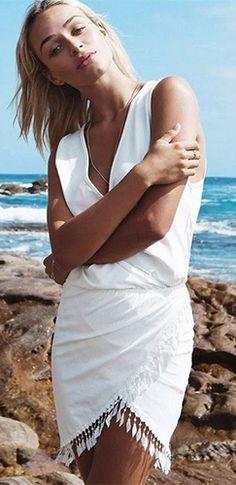 White Sleeveless Cross Wrap V Neck Tassel Tulip Mini Dress