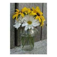 Country Wedding: Daisies & Black Eyed Susans Personalized Invitations