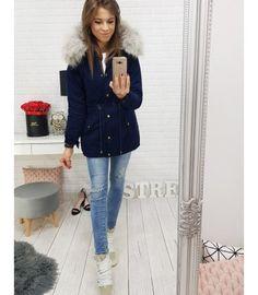Bunda dámska zimná párka tmavomodrá Parka, Coat, Jackets, Women, Fashion, Down Jackets, Moda, Sewing Coat, Fashion Styles