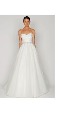 Bridal Gowns: Bliss Monique Lhuillier A-Line Wedding Dress with Strapless Neckline and Natural Waist Waistline
