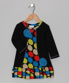 Take a look at this Black Lollipop Ruffle Dress - Toddler & Girls by Freckles + Kitty on #zulily today!