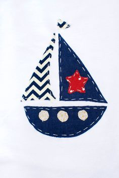 Handmade Applique Boat Nautical Onesie