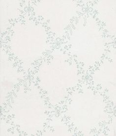 Toile Trellis (BP 668) - Farrow & Ball Wallpapers - A quiet nostalgic design featuring delicate leaf motifs and romantic bows. Showing in duck egg blue on off white water based paints - more colours are available. Please request a sample for true colour match.