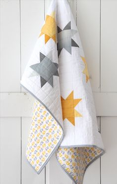 Sew Quilt Image of Ombre Sunshine Quilt - This special quilt is a one of a kind design, using intricate patchwork. The modern look is made up of grey and yellow offset stars, with no two. Quilt Baby, Baby Quilt Patterns, Baby Girl Quilts, Boy Quilts, Girls Quilts, Star Quilts, Quilt Blocks, Owl Patterns, Star Blocks