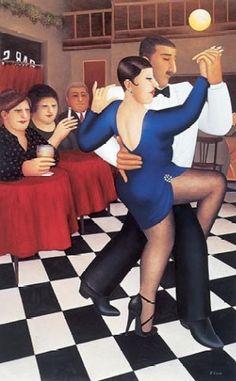 Beryl Cook (British, 1926–2008) ~ Tango Bar Sur - 2001