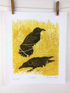BOUNDARIES Reduction Linocut print of two crows or ravens