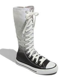 bd523834c377 Knee high converse   black   white   boots Knee High Converse