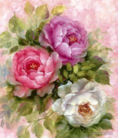 Flower art of Gary Jenkins Purple And White Flowers, Colorful Flowers, Pink Purple, Elegant Flowers, Arte Floral, 5d Diamond Painting, Beautiful Roses, Vintage Flowers, Flower Art