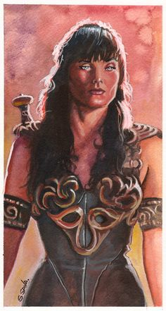 Watercolor of Xena  Original painting (and many others) for sale at my Etsy store…  http://www.etsy.com/shop/ScottChristianSava