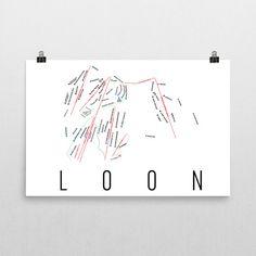 Loon Mountain Ski Map Art, Loon Mountain NH, Loon Mountain Trail Map, Loon Mountain Ski Resort Print, Loon Mountain Poster, Art, Gift
