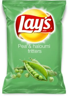 Pea & haloumi fritters  Pea haloumi fritters are really good eating and as a lay potato chip flavor I think they'd be a new sensational one.