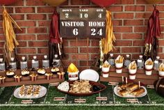 Scoreboard Stanley- 60 Visitor- 0 LOVE the referee waterbottle covers Whistle favors?  Green artificial turf for the food table