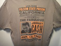 Lucky Brand Mens T-Shirt Fabulous Johnny Cash in Person Folsom State Prison M #LuckyBrand #GraphicTee