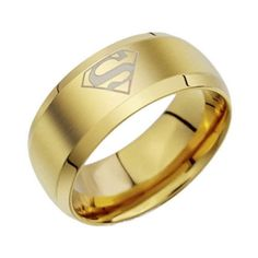 Male Ring Trendy Round Titanium Superman Bague Anillos Hombre 2015 Black Titanium Rings For Men Joias Anel Masculino Bagan, Superman Ring, Superman Logo, Superman Symbol, Superman Stuff, Superhero Rings, Mode Cool, Mens Stainless Steel Rings, Band Engagement Ring