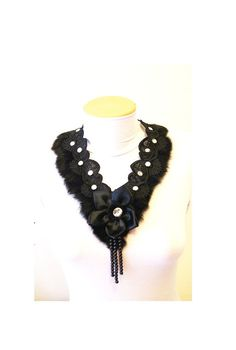 FREE SHIPPING Avant garde  Black Lace Choker Necklace-  Woman Applique $55