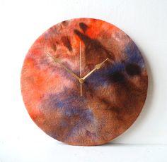 Felted Wall Clock  Decoupage Felt Wall Clock  by NaturalClocks