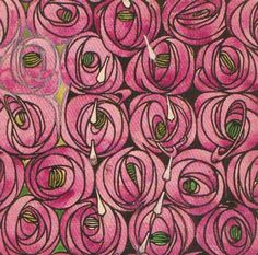 Rose and Teardrop, textile design, Hunterian Art Gallery, Glasgow.In the United Kingdom Art Nouveau developed out of the Arts and Crafts Movement. The most important centre in Britain was Glasgow with the creations of Charles Rennie Mackintosh. Style Tiles, Textile Design, Fabric Design, Art Deco Fabric, Textile Prints, Fabric Painting, Charles Mackintosh, Charles Rennie Mackintosh Designs, Azulejos Art Nouveau