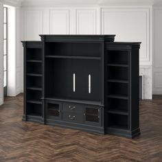 Hooker Furniture Clermont Entertainment Center for TVs up to 70 inches Color: Black Wood Drawers, Dresser Drawers, Hooker Furniture, Furniture Making, Bungalow, Wood Entertainment Center, Glass Cabinet Doors, Glass Door, Home Movies