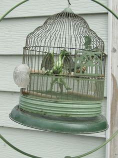 Vintage green 1950's Bird Cage / shabby Chic style original glass pyrex feeders | eBay