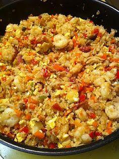 "#Cauliflower fried ""rice"" Tastes like real rice dish. Yum! Add shrimp, chicken, or beef. No carbs! #Keto"
