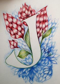 letter J drawing typography