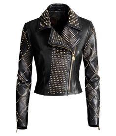 VERSACE For H&M Black Biker Gold Studded Zipper Leather Jacket EUR 38 US 8 UK 12 | eBay