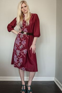 Vintage 70's Rich Maroon Orchid Print Day by underthepinkmoon, $28.00
