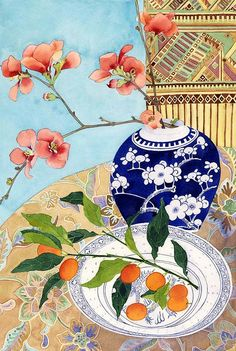 Japonica and kumquats  Watercolour and pencil on paper  39cm x 57cm Sydney 2011