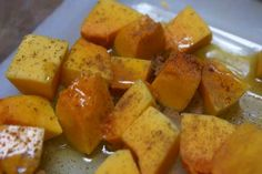 my new favorite side dish - butternut squash!! tastes great with just olive oil and cinnamon baked in the oven