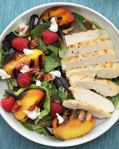 Grilled Peach and Chicken Salad with Raspberry Vinaigrette