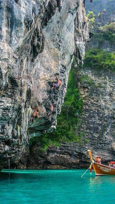 Rock climbing in Tonsai, Thailand.