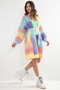 Cardigan cu cordon in talie multicolor Cardigan Outfits, White Cardigan, Casual Chic, White Dress, Dresses With Sleeves, Sport, Long Sleeve, Sweaters, Color